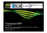 Transpose - AMIP and EUCLIPSE