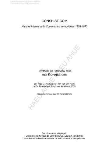 European Oral History - The European Commission 1958-1972 ...