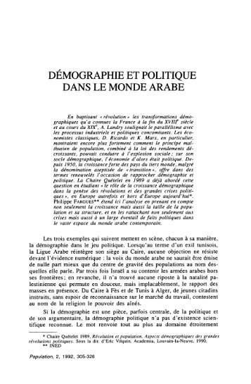 DEMOGRAPHIE ET POLITIQUE DANS LE MONDE ARABE