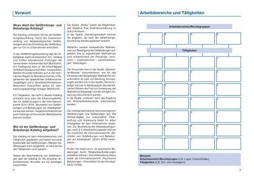 Beurteilung von Gefährdungen und Belastungen am Arbeitsplatz in ...