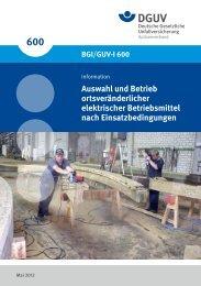 Auswahl und Betrieb ortsveränderlicher elektrischer Betriebsmittel ...