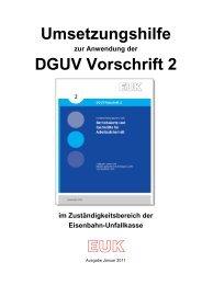 zur Anwendung der DGUV Vorschrift 2 - Eisenbahn-Unfallkasse