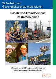 Einsatz von Fremdpersonal im Unternehmen - Eisenbahn-Unfallkasse
