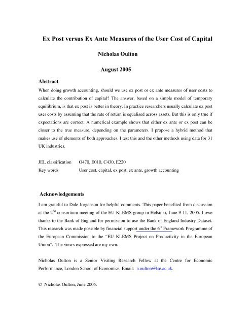 Ex Post versus Ex Ante Measures of the User Cost of Capital