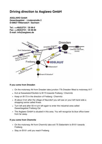 Driving direction to Asglawo Gmbh - ASGLAWO technofibre Gmbh