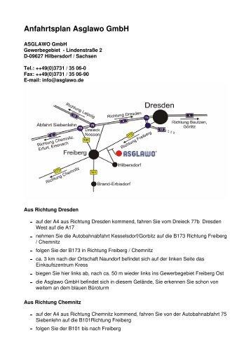 Anfahrtsplan Asglawo Gmbh - ASGLAWO technofibre Gmbh