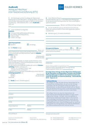 Avalkredit Antrag auf Abschluss einer Kautionsversicherung (KTV)