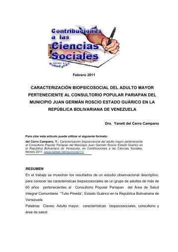 caracterización biopsicosocial del adulto mayor ... - Eumed.net