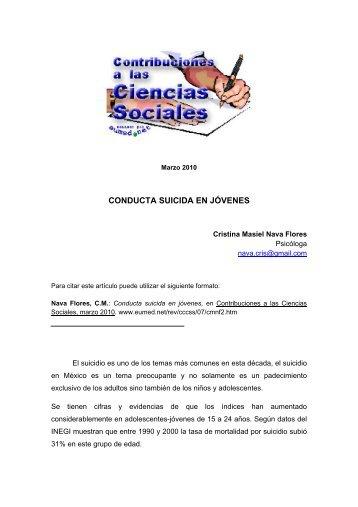 CONDUCTA SUICIDA EN JÓVENES - Eumed.net