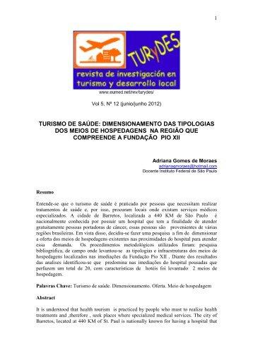turismo de saúde: dimensionamento das tipologias dos ... - Eumed.net