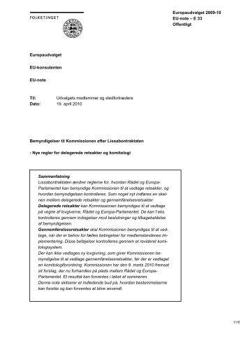Bemyndigelser til Kommissionen efter Lissabontraktaten