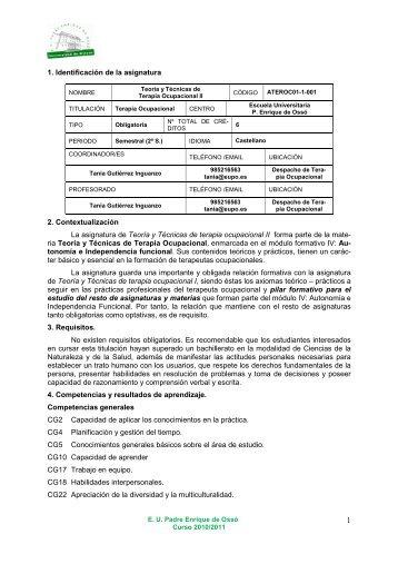 Teoría y Técnicas de terapia ocupacional II - Escuela Universitaria ...