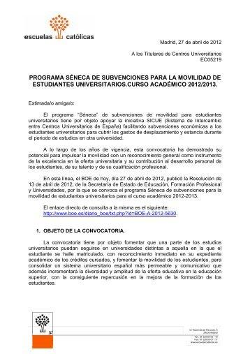 PROGRAMA SÉNECA DE SUBVENCIONES PARA LA MOVILIDAD ...