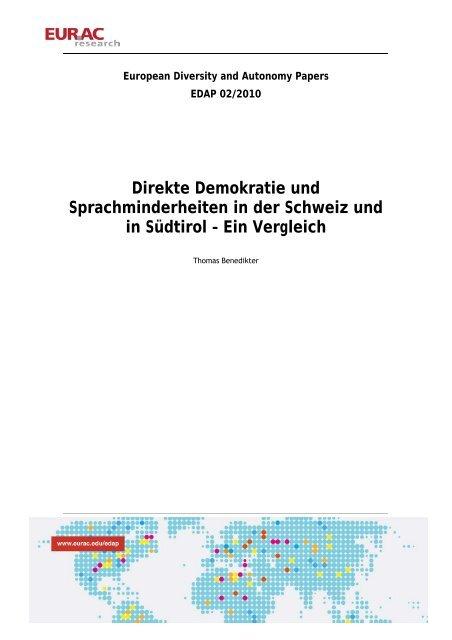 Direkte Demokratie und Sprachminderheiten in der Schweiz - EURAC