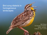 Bird song dialects in homogeneous landscapes - Eurandom