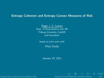 Entropy Coherent and Entropy Convex Measures of Risk - Eurandom