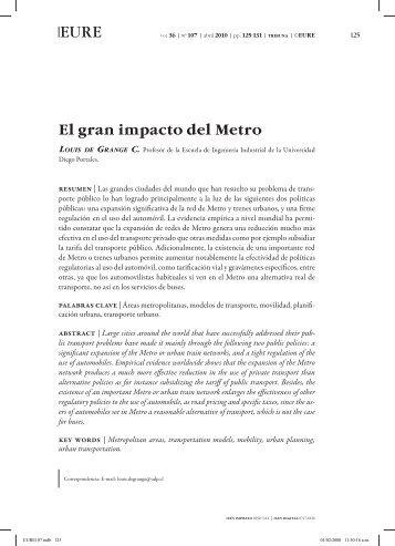 El gran impacto del Metro - SciELO