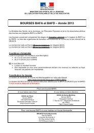 Dossier de demande bourse BAFA BAFD 2013