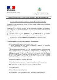 Critères de soumission au contrôle des structures agricoles