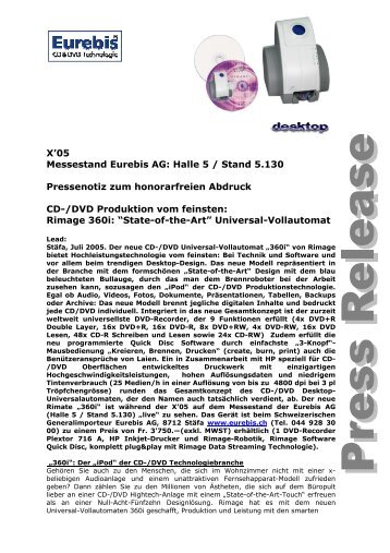 X'05 Messestand Eurebis AG: Halle 5 / Stand 5.130 Pressenotiz zum ...