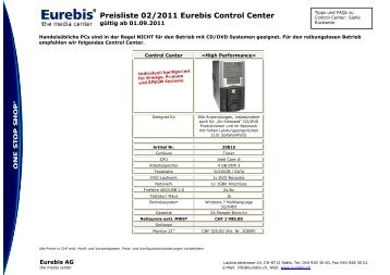 Control Center Preisliste September 2011 - Eurebis AG