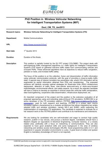PhD Position in Wireless Vehicular Networking for ... - Eurecom