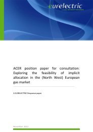ACER position paper for consultation: Exploring the ... - Eurelectric