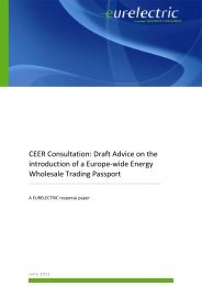 CEER Consultation: Draft Advice on the introduction of ... - Eurelectric