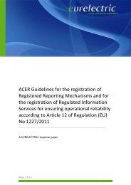 ACER Guidelines for the registration of Registered ... - Eurelectric