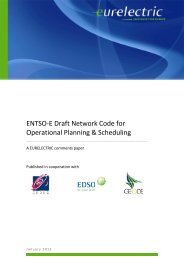 ENTSO-E Draft Network Code for Operational Planning ... - Eurelectric