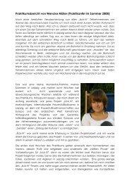 Praktikumsbericht von Wencke Müller (Praktikantin im ... - eurient eV