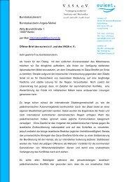 Offenen Brief an die Bundeskanzlerin Angela Merkel - eurient eV