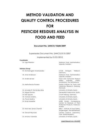 sanco/10684/2009 - EURL | Residues of Pesticides
