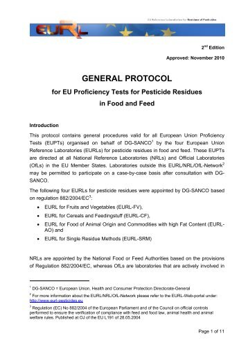 GENERAL PROTOCOL - EURL   Residues of Pesticides