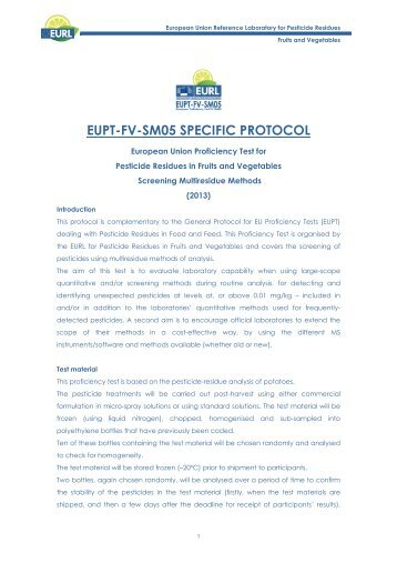 specific protocol - EURL | Residues of Pesticides