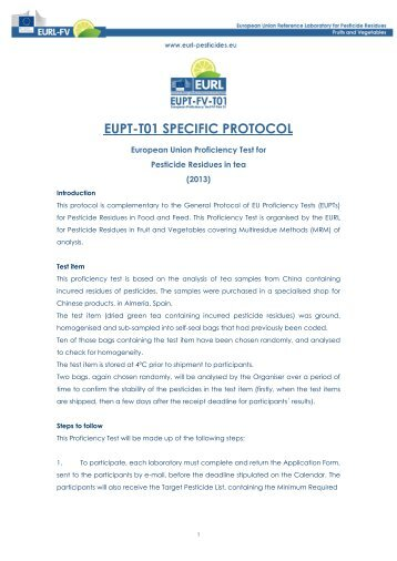 EUPT-T01 SPECIFIC PROTOCOL - EURL | Residues of Pesticides