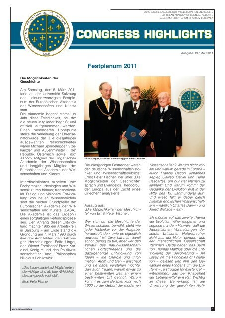 Congress Highlights Ausgabe 19 / Mai 2011 - European Academy of ...