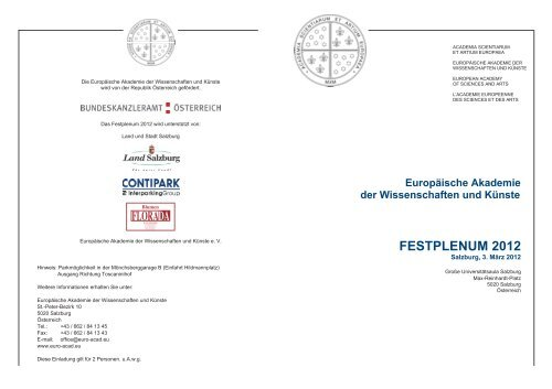 festplenum 2012 - Europäische Akademie der Wissenschaften und ...