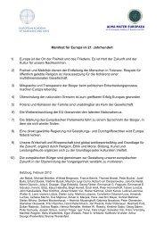 Manifest für Europa - Europäische Akademie der Wissenschaften ...