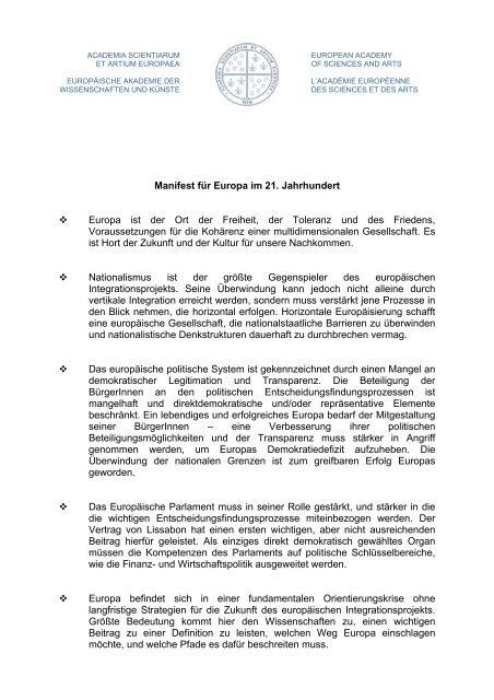 Credo für Europa - Europäische Akademie der Wissenschaften und ...
