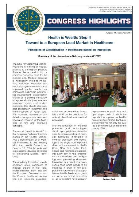 congress highlights congress highlights - European Academy of ...