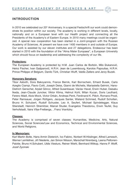Activities 2010 - European Academy of Sciences and Arts