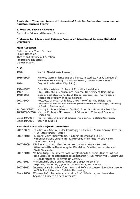 Curriculum Vitae And Research Interests Of Prof Dr Sabine