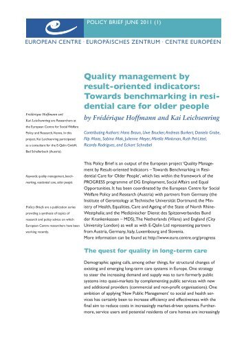Quality management by result-oriented indicators - European Centre ...