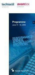 Programme - Techtextil - Messe Frankfurt