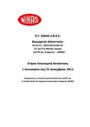Π.Γ. ΝΙΚΑΣ Α.Β.Ε.Ε. Βιομηχανία Αλλαντικών Ετήσια ... - Nikas