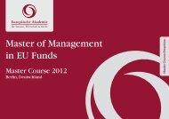 Master of Management in EU Funds - Europäische Akademie für ...