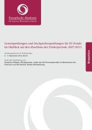 1 Systemprüfungen und Stichprobenprüfungen für EU-Fonds im ...
