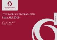 """3rd European Summer Academy """"State Aid 2013"""""""