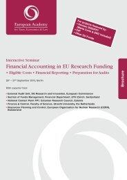 Financial Accounting in EU Research Funding
